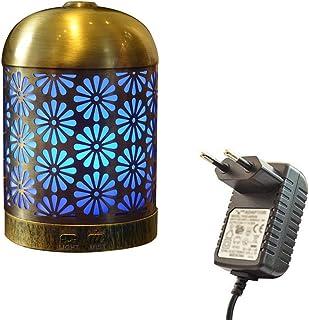 プレミアムアイアンアロマセラピーディフューザー、超音波クールミストエッセンシャルオイルディフューザー、7色LED用ホーム、スパ