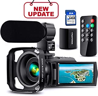 【Full Upgrade】Ultra HD Video Camera Camcorder with Rechargeable Microphone 1080P 42M Vlogging Camera YouTube Digital Camera IPS Touch Screen Remote Control IR Night Vision, Lens Hood, Battery Charger
