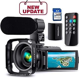 【Actualización completa】 Cámara de video Ultra HD Videocámara con micrófono recargable Cámara 1080p 42M Vlogging Cámara digital YouTube Pantalla táctil IPS Control remoto Visión nocturna por infrarrojos, parasol, cargador de batería