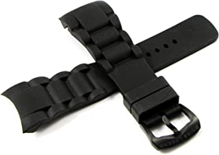 Swiss Legend 28MM Black Silicone Rubber Watch Strap, Black Stainless Buckle fits 45mm Commander Watch