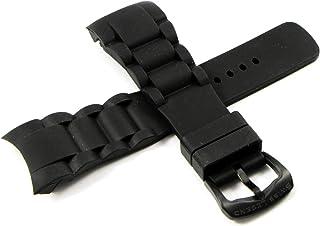 Swiss Legend 28MM Black Silicone Rubber Watch Strap w/Gunmetal Buckle 9.0