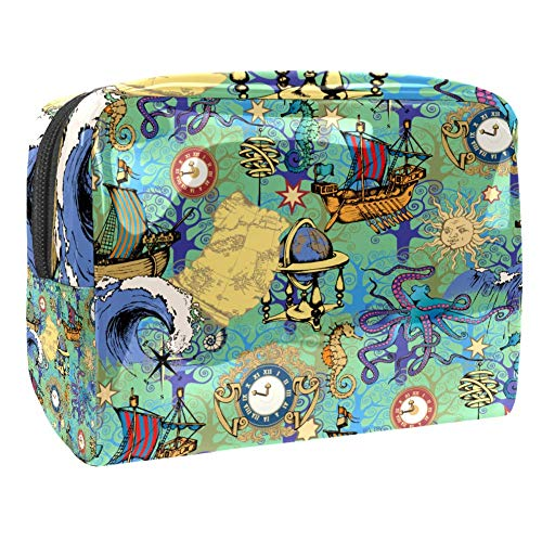 Maquillage Cosmetic Case Multifunction Travel Toiletry Storage Bag Organizer for Women - Nautical Map Vintage