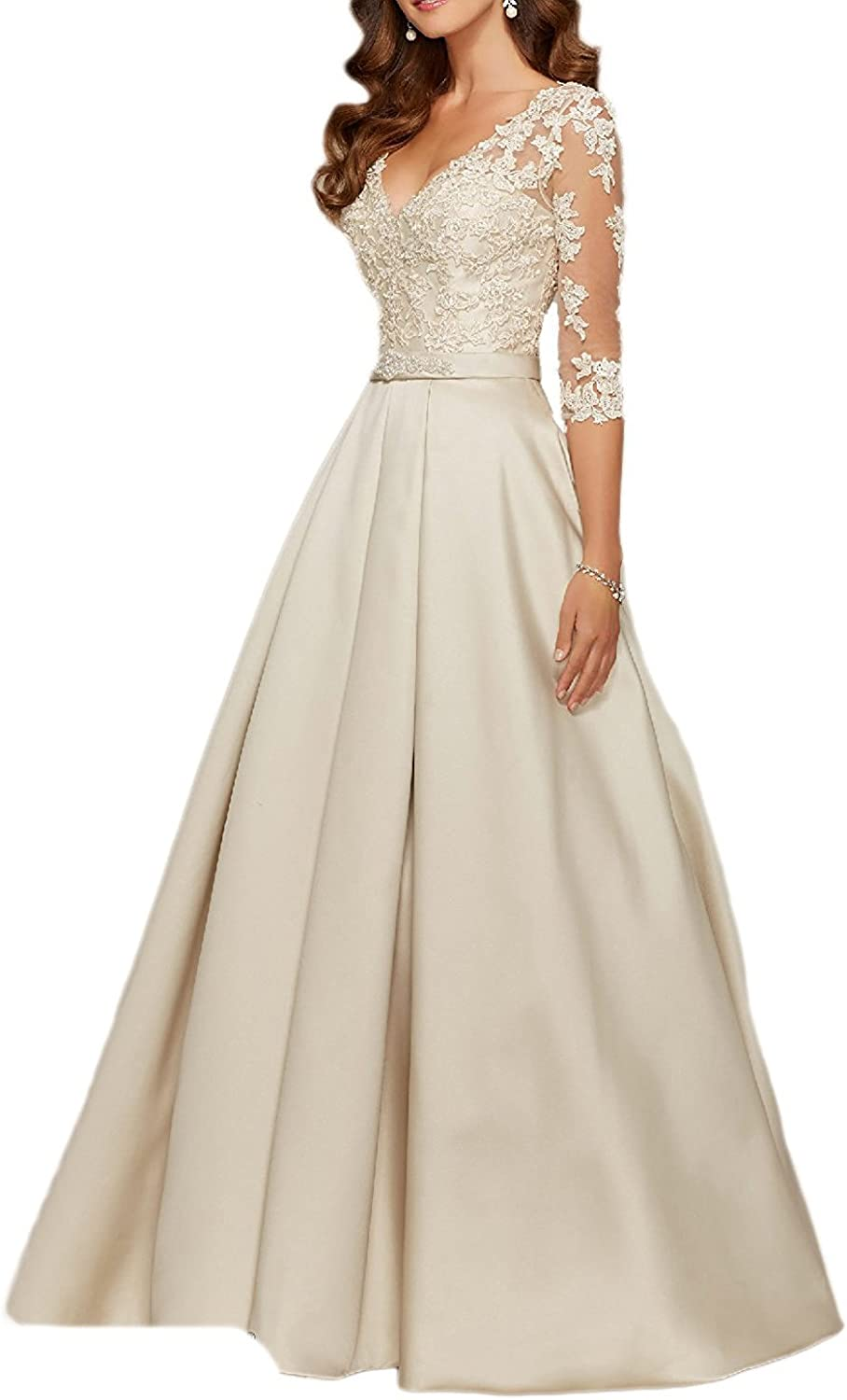 Beilite 3 4 Sleeves A Line Evening Gowns Lace Appliques Party Dresses Formal