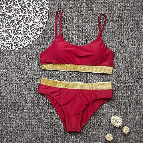 Chiffon strandkleding kwastje strandjurk bikini, sexy bikini met hoge taille, badpak met split-lovertjes-bordeauxrood + goud_XL, badpak strandkleding lingerie