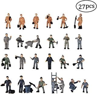 27PCS 1:87 Train People Figures, Gdaya HO Scale People Hand Painted Railroad Worker Model Train Figures with Ladder and Bucket Railway Scenery Layout