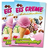 2 x Eis Creme Poster / Plakate DIN A1 Werbung für