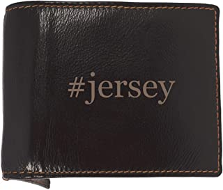 #jersey - Soft Hashtag Cowhide Genuine Engraved Bifold Leather Wallet
