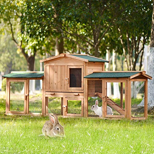 Yingyan Pet Supplies Best Choice Product 83-Inch Outdoor Wooden Chicken Coop Multi-Layer Chicken Coop with 2 Outdoor Protective Covers, Small Animal Rabbit Cage, Wooden House Pet Cage, Natural Wood