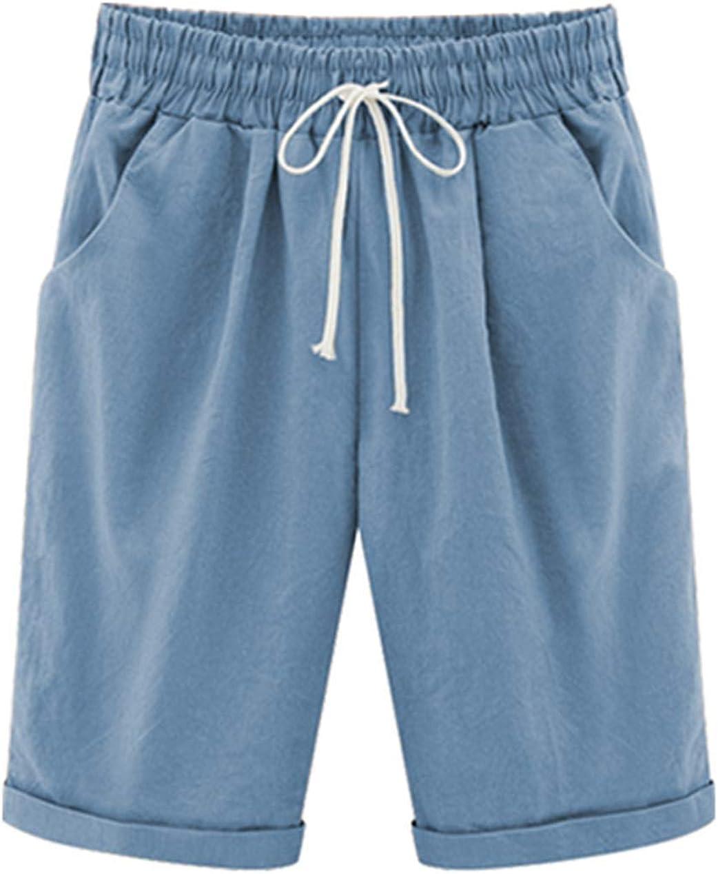 Vcansion Women's Drawstring Elastic Waist Shorts Plus Size Shorts Light Blue Asian 2XL/US 8-10