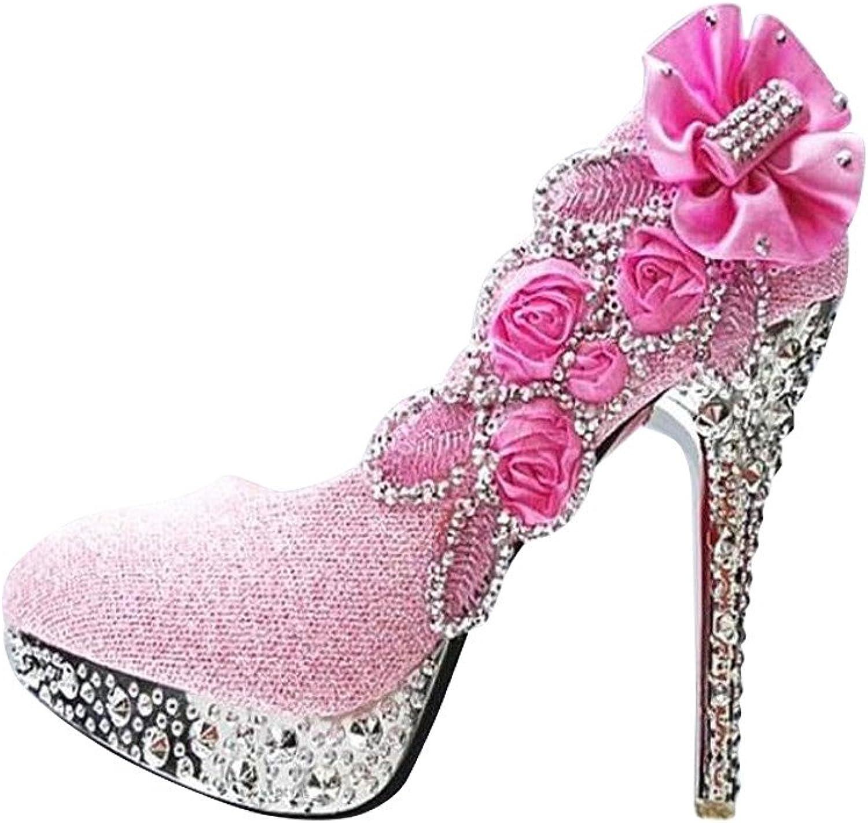 Flower Inlaid Rhinestone Platform Heels Women's Dance Party shoes
