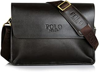 """POLO FEILUN Men's Genuine Leather Briefcase Business Composite Leather Classic Casual Bag Shoulder Messenger Satchel Bags for Everday use 12""""(L) x9.4""""(H) x 2.7""""(W)(Brown)"""
