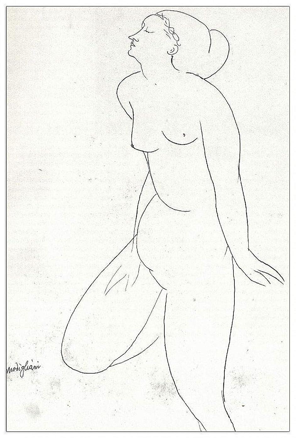 ArtPlaza TW92527 Modigliani Amedeo - Standing Nude Decorative Panel 27.5x39.5 Inch Multicolored