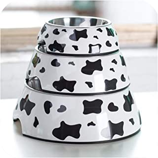 Stainless Steel Dog Bowl Food Double Melamine pet Feeding Water cat Supplies