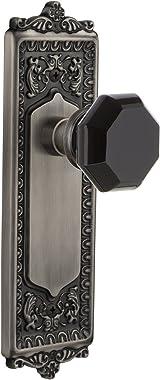 Nostalgic Warehouse 724515 Egg & Dart Plate Privacy Waldorf Black Door Knob in Antique Pewter, 2.375