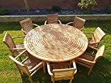 chelsea home and leisure ltd teak garden <span class='highlight'>furniture</span> round table <span class='highlight'>lazy</span> <span class='highlight'>susan</span> 8 stacking chairs