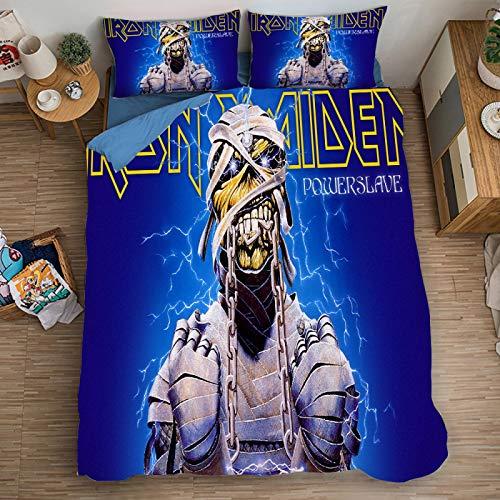 Funda Nordica Cama 150, Iron Maiden Impresión Digital 3D Funda Almohada 90 Algodon, Upgrade Poliéster Microfibra Conjuntos De Ropa De Cama Con Cierre De Cremallera, Para Muchachos Chicas (135X