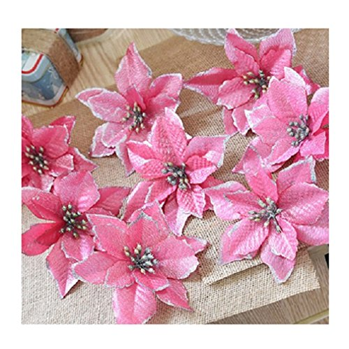 LALANG 8pcs Glitter Artificial Flowers Wedding Party Decoration Christmas Tree Wreaths Decor (pink)