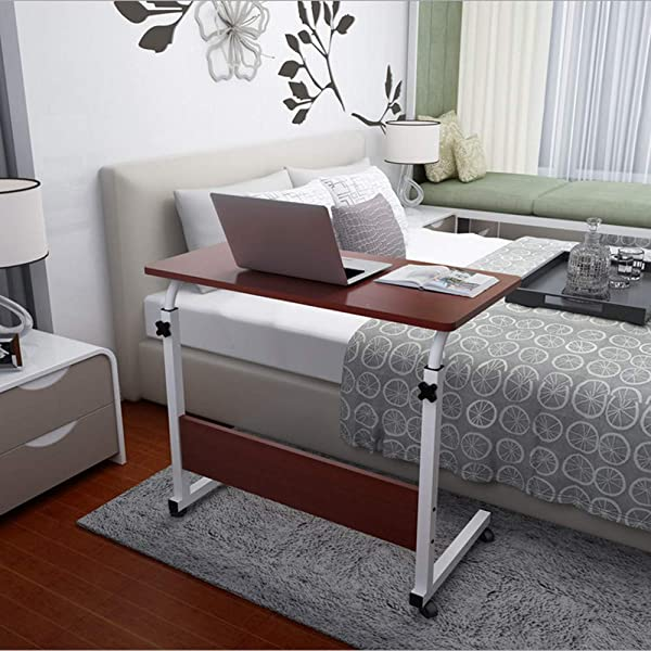 US Fast Shipment Jiayit Adjustable Overbed Bedside Table With Wheels Swivel Wheel Rolling Tray Table Over Bed Laptop Reading Eating Breakfast Low High Cart Bedridden Elderly Senior Patient Aid