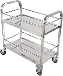 WHJ@ Multi-Function Stainless Steel Kitchen Storage Trolley Cart, Large Service Cart Assembly Truck, Hotel Collection Vehicle, Wine Cart, Service Vehicle