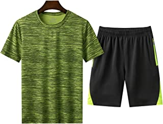 amropi Men's Tracksuit Sportswear Set Short Sleeve T Shirt Top and Shorts for Summer M-8XL