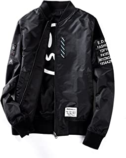 Mens Pilot Jacket Two Sides Wear Letter Printed Thin Bomber Windbreaker Jacket