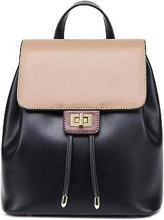 Neuleben Rucksack Damen Klein Echtes Leder Elegant Damenrucksack Daypack für Damen Frauen Rucksäcke mit Anti Diebstahl Schwarz