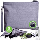 New 2020 Smell Proof Bag - Odor Proof Bag - Dog Tested Bags - Best Odor Proof Pouch Zipper on Top Smell Proof Case for Herbs Coffee Tea Oils 5 Sealed Baggies - Smell Proof Container