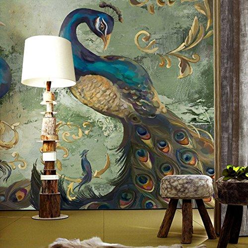 Poowef 3D-Tapete im südöstlichen asiatischen Stil, Hyun-Off-Schlafzimmer-/Restaurant-Hintergrund, Wand-Overall, große Wandbilder, Pfau