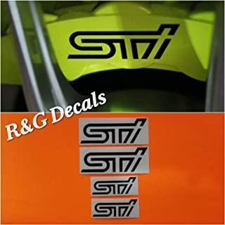 R&G HIGH TEMP STI Brake Caliper Decal Sticker Set of 4 Decal + Instruction and Decal Surface Preparation Solution (Black)