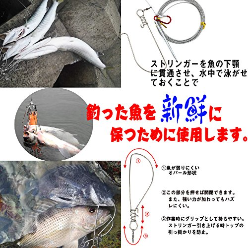 Kiranicフロート付きストリンガー10個入りワンタッチフック10本付きロープ全長10m魚の新鮮さを保持ステンレス製収納バッグ付き日本語説明書付き