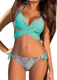 GGTFA Mujer de la Fisión de la cruz de trajes de baño de Moda Bandeau Push up Bikini Brasileño trajes de baño