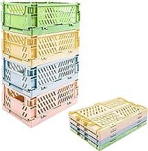 4-Pack mini Baskets Plastic for Shelf Home Kitchen Storage Bin Organizer, Stacking Folding Storage Baskets for Classroom B...