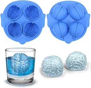 2 Pack 3D Brain Ice Cube Trays, Halloween Party Brain Small Silicone Ice Mold for Whisky Ice Ball Maker, Brain Cake Baking Pan, Chocolate Jello Pudding Ice Cream Soap Candle Clay Mold (Random Color)