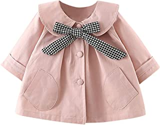 Baby Girls Jacket Coat Dress, Toddler Kids Solid Long Sleeve Button Pocket Outwear Windproof