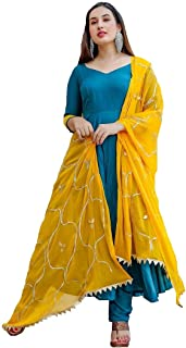 Style Amaze Women's Turquoise Cotton Silk Embroidered Semi Sititched Salwar Suit with Contrast embroidered Dupatta