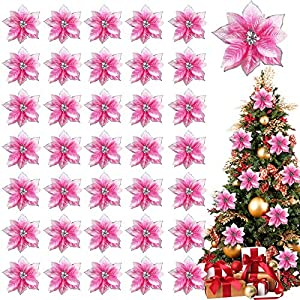 TURNMEON 36 Pack Christmas Gold Silver Glitter Poinsettia Artificial Silk Flowers Picks Christmas Tree Ornaments 4 Inch Wide for Gold Christmas Tree Wreaths Garland Holiday Decoration (Pink)