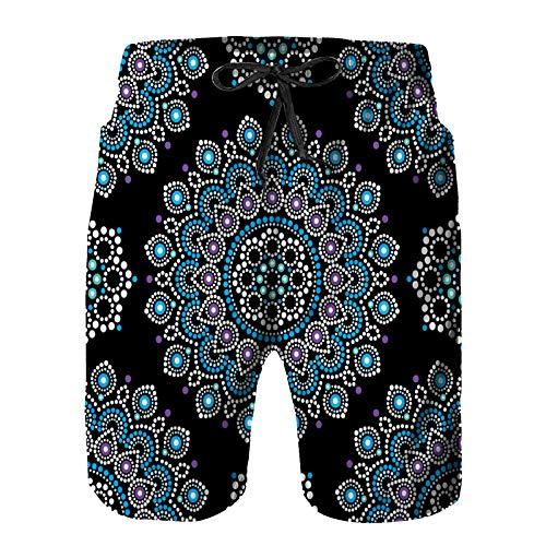 YANAIX Hombres Playa Bañador Shorts,Punto, Pintura, Vector, Seamless, patrón, Flores,Traje de baño con Forro de Malla de Secado rápido 2XL