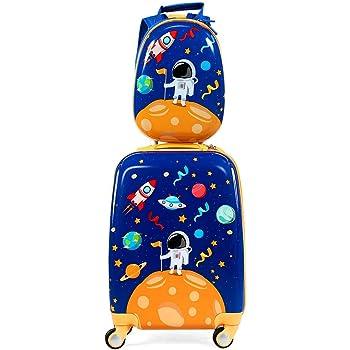 COSTWAY ABS Kids Luggage Set 12'' Backpack 18'' Suitcase Children Boys Girls Travel School Trolley Case (Blue)
