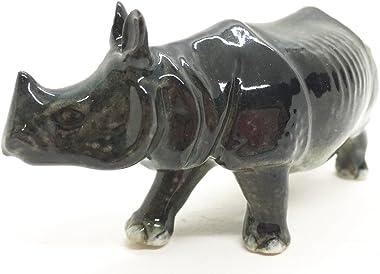 Ceramic Rhino Tiny Home Decor Gift Miniature Figurine Handmade Animal Safari Art