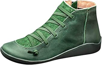 haoricu Women's Shoes Casual Flat Artificial Leather Retro Lace-up Boots Side Zipper Round Toe Shoe Boots