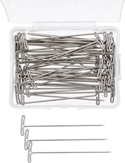 Niome 100Pcs Hair T Pins For Blocking Knitting Macrame Holding Wigs DIY Hair Style Tool with Plastic Box Strong Durable Co...