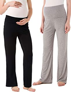 Ecavus Women's Maternity Wide/Straight Versatile Comfy Palazzo Lounge Pants Stretch Pregnancy Trousers