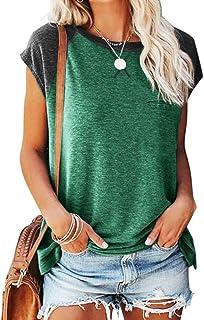 Women's Short Sleeve Crewneck Tops Solid Color Loose T...