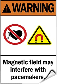 Warning Magnetic Field May Interfere With Pacemakers. LABEL DECAL STICKER Sticks to Any Surface