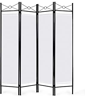 Giantex 4 Panel Room Divider Screens Steel Frame & Fabric Surface Freestanding Room Dividers and Folding Privacy Screens Home Office, White
