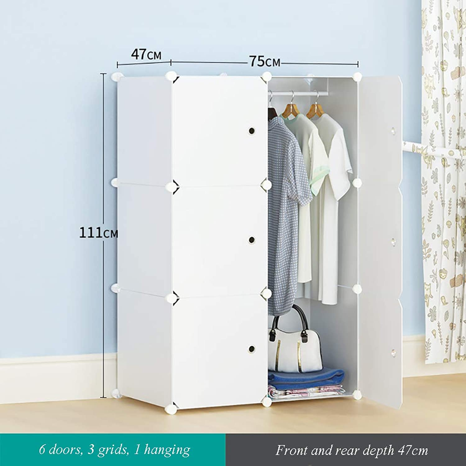 Simple Storage Wardrobe Adult Plastic Assembly Partition Multi-Layer Storage Cabinet Dormitory Single Multi-Function Storage Cabinet,6doors
