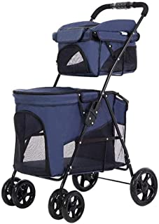 Pet stroller Pet Stroller,Double Pet Stroller, Foldable 4-Wheel Pet Stroller,Pet Supplies,for Small and Medium Pets (Color : Blue)
