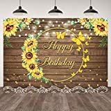 7×5ft Girls Sunflower Happy Birthday Backdrop Brown Wood Butterfly Sunflower Photography Background Gold Dots Lights White Lace Princess Kids 1st 2nd 16th Birthday Party Banner Decorations Photo Props