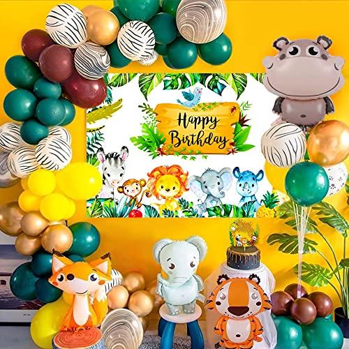 Palloncini Animali Giungla,Animale Compleanno Festa Decorazioni,Festoni Compleanno Bambino Giungla Party Poster Banner di Animali e Palloncini Cake Topper per Ragazzi Bimba Compleanno Baby Shower