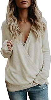 NREALY New Women's Hoodie Knitted Deep V-Neck Long Sleeve Wrap Front Loose Sweater Pullover Jumper
